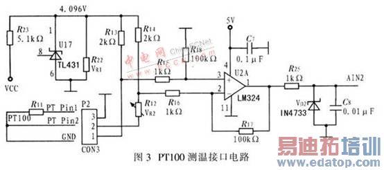 电桥输出一个毫伏级的压差信号,经lm324放大后,接入从控机的模拟输入
