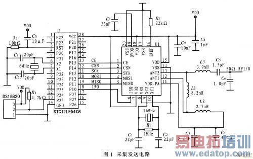 图1为采集发送电路原理图,该电路主要由温度传感器ds18b20,单片机stc