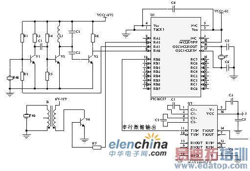 在本系统中超声波测距电路是由microchip的pic16c