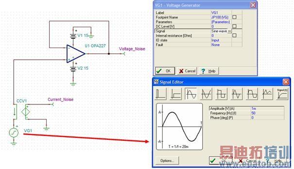 第四部分:SPIC 噪声分析介绍 在本部分,我们将介绍 TINA 噪声分析以及如何证明运算放大器的宏模型能准确对噪声进行建模。重要的是,我们应当了解,有些模型可能不能对噪声做适当建模。为此,我们可以用一个简单的测试步骤来加以检查,并通过用分离噪声源和通用运算放大器开发自己的模型来解决这一问题。 测试运算放大器噪声模型的准确性 图 4.