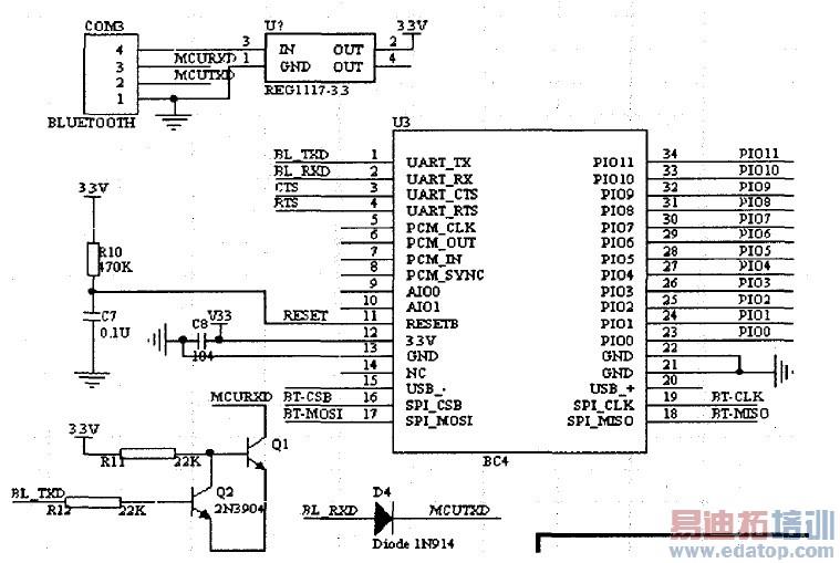 以下是蓝牙模块的电源选择方案及串口模块的引脚定义.
