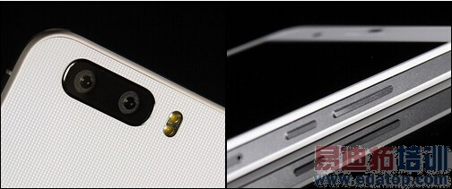 """荣耀6Plus背面双摄像头和实体按键   背部最引人注目的还是左上角的双摄像头。总的感觉这组镜头的体积并不大,对比同样是主打拍照的手机上凸起的摄像头,这两枚镜头""""低调""""的嵌入在机身内部,完全没有任何凸起,使得手机的背面更加平整。在摄像头右侧还有两枚双LED闪光灯,不过并非双色温设计。"""