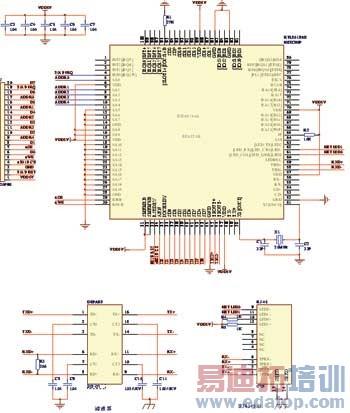 以太网芯片rtl8019as外围电路原理图