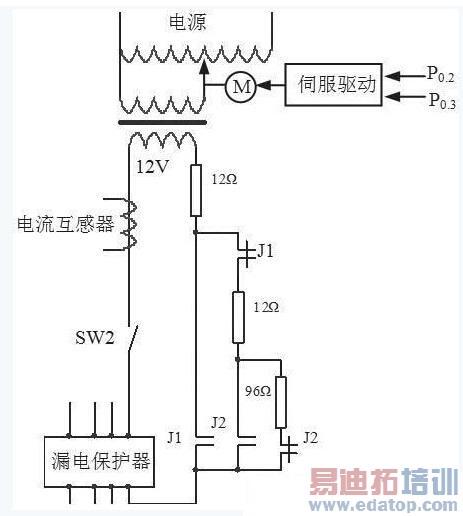 测试电流的产生是将50hz,220v的正弦交流电经过220:12的降压变压器和