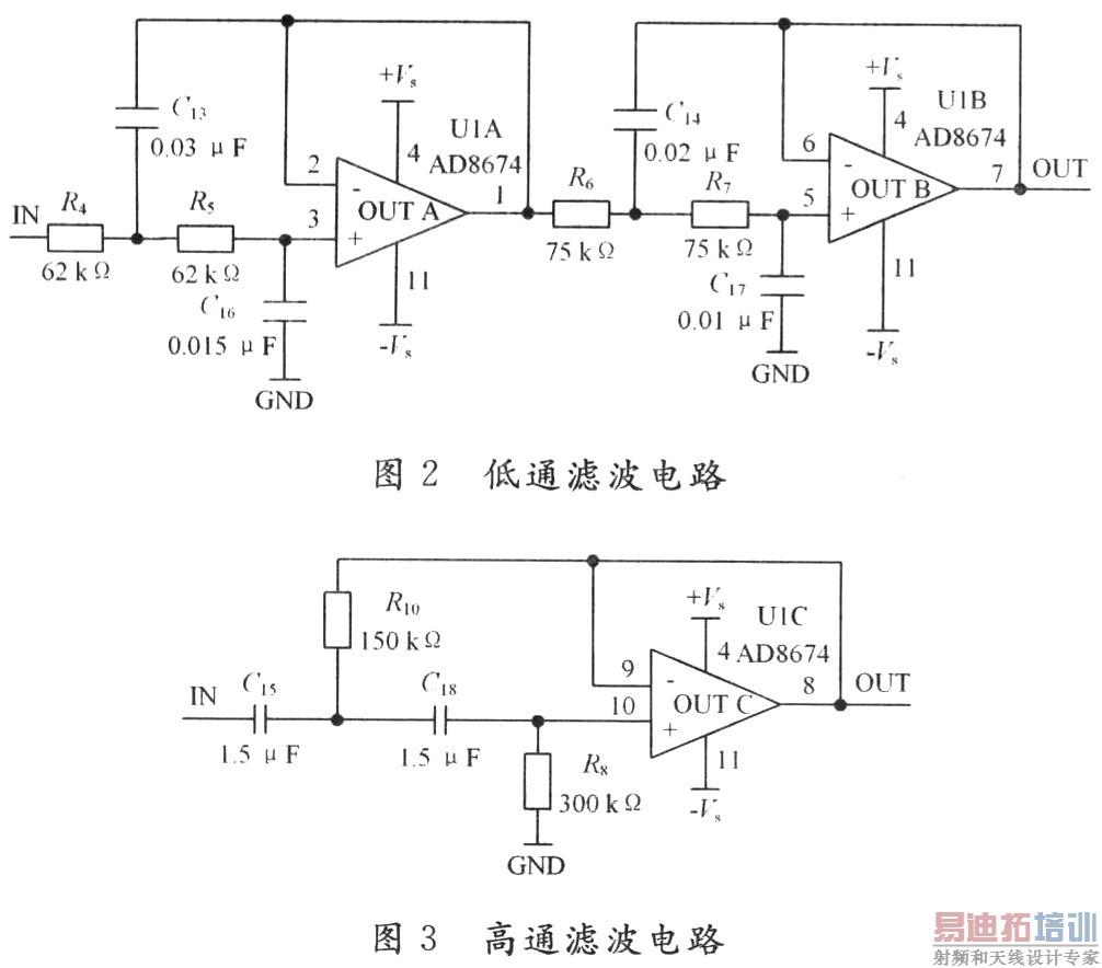 二级放大电路使用AD8674(A,B,D部)的U1C充当放大器,因为当频率在120 Hz以下时,AD8674的共模抑制比CMRR高达11O dB以上。通过调整R11和R14的比值,保证二级放大倍数为101倍。50 Hz工频干扰一直是电路设计中头痛的问题,在脑电这种微弱生物电提取系统中尤为突出。本文设计了由双T网络和运算放大器构成的有源双T陷波电路来抑制50 Hz工频干扰。 2.3 三级放大及光电隔离设计 第三级放大电路(见图4)通过调整电阻器R19的阻值来保证经过第三级放大后,lO~50μF的微弱