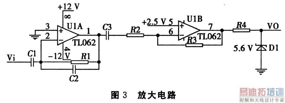 """用于信号放大和调节电压大小;电容c3起""""隔直通交""""作用,隔断运算放大器"""