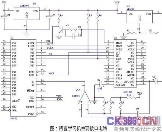 2提供spi接口的时钟脉冲到isd4004的sclk引脚.