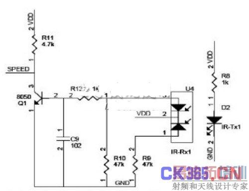 图3 红外对管电路原理图   红外发光管D2和接收管U4安装在同一水平线上,发射管D2一直处于发射工作状态。当D2和U4间没有被挡住,即D2发射的红外线照射在U4上时,U4的2脚和3脚导通,同时2脚和1脚也导通,此时晶体管Q1的基极电压为Ub=VDD×R12/(R12+R10),Q1导通,SPEED端近似于接地,呈低电平状态。当D2和U4间被挡住时,即D2发射的红外线不能照射在U4上时,U4的2脚和3脚截止,同时2脚和1脚也截止,此时Q1的基极经电阻R12和R10接地,即基极电压为0V,