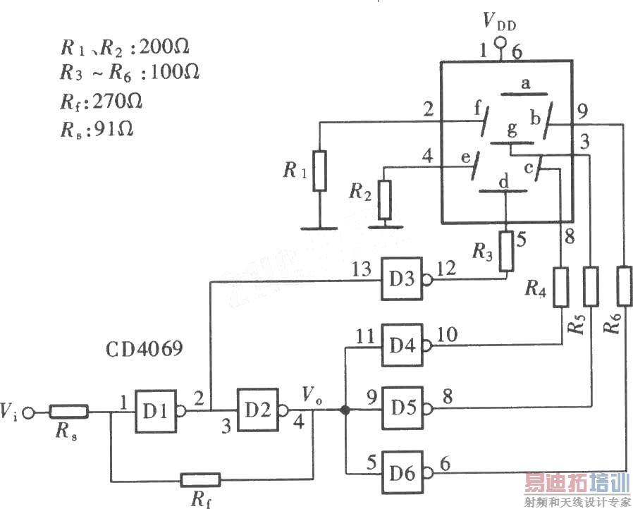 用门电路组成的文字显示型逻辑笔之三(cd4069)