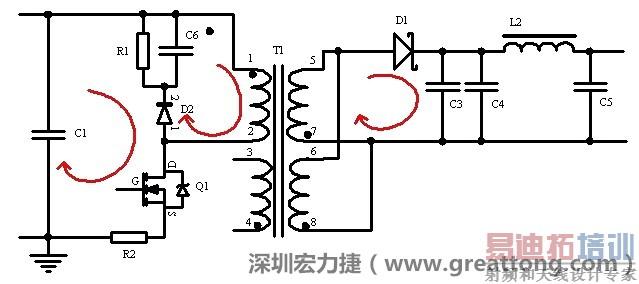 如图3所示的几个电流环路是需要特别注意的.