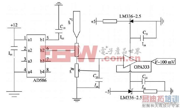 图3 基准源电路原理图   2. 2 电压的放大及偏置   0~100 mV 的电压不能直接送给V /F 变换AD652,而必须经过精密放大和进行电位的偏置,这样才能达到设计的精度。选择具有斩波稳定功能的ICL7650运算放大器,它可以提供低的偏置电流(10pA) 、偏置电压和相对时间、温度的稳定性。输入的0~100 mV电压经过40倍的放大后,产生0~4 V的输出,因为AD652在0 V输入的情况下,输出频率也是0,这样计数得到频率难以达到16 位的精度,所以将输入(0~4 V)的直流偏置设置为1 V
