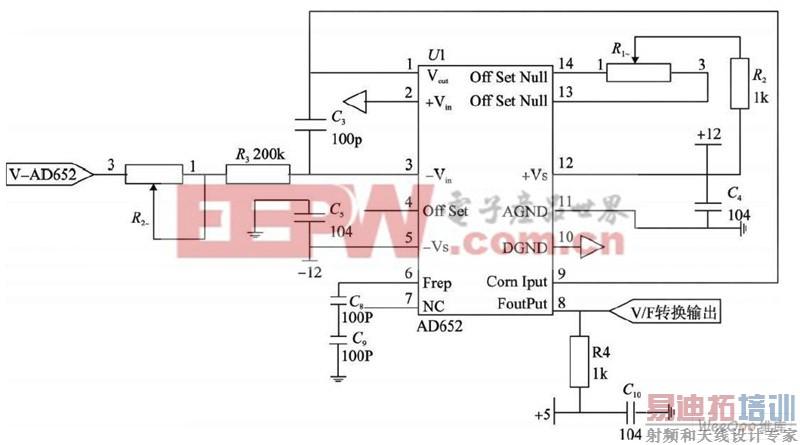 ices公司推出的高精度电压频率(v /f)转换器,它由积分器,比较器,精密