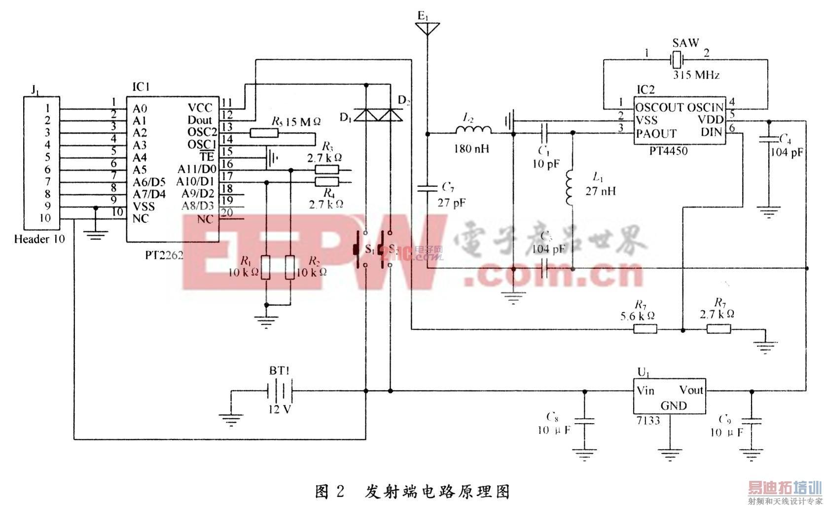 当din脚为高电平时触发电路,单触发电路打开功率放大器和saw振荡器,高
