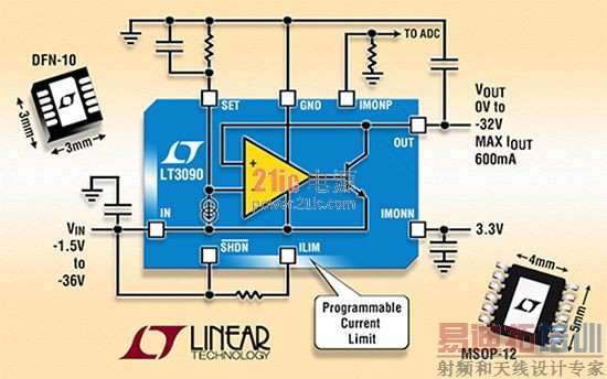 图4:凌力尔特的低噪声LDO LT3090。 Maxim的MAX8510可以从可达6 V的装置的噪声等级为11μVRMS在100赫兹至100千赫兹范围的输入电压产生高达10的电压输出,范围从1.5到4.5伏,在高达120毫安。 就其本身而言,飞兆半导体提供FAN25800,它被指定为8μVRMS噪音等级在10 Hz到100 kHz的范围内。该LDO工作在高达5.