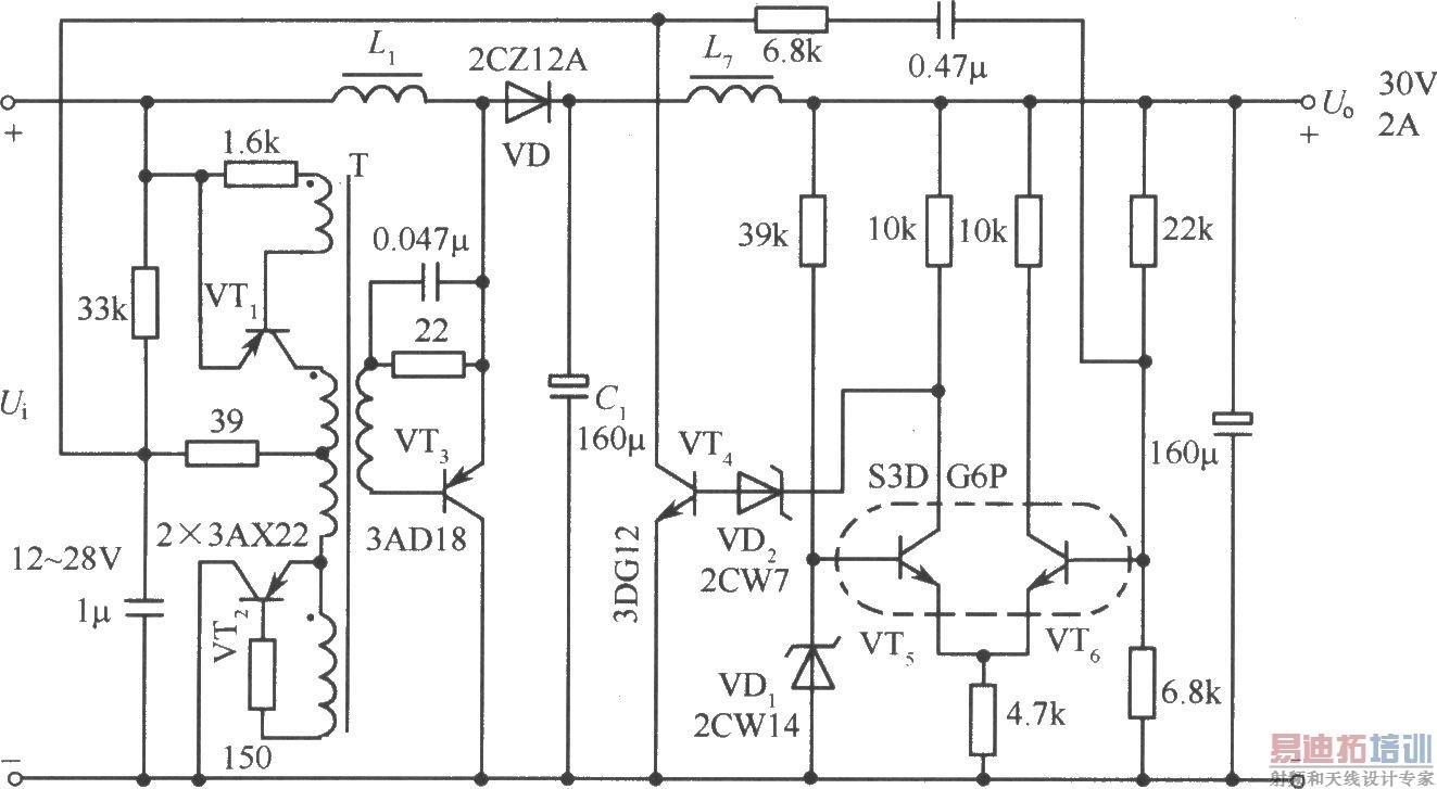 这是非对称的变压器正反馈的自激多谐振荡器.