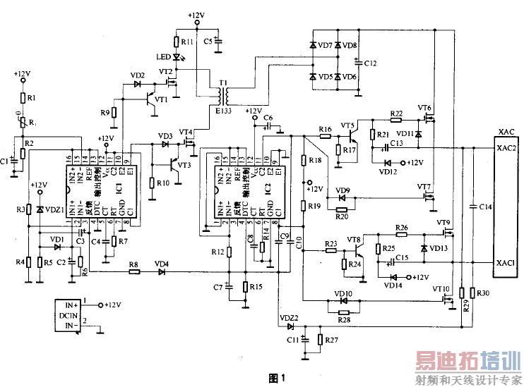 每部分各采用一只tl494或ka7500芯片组成控制电路,其中第一部分电路的